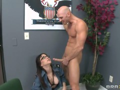 Cytherea is a horny security guard who body checks Johnny Sins